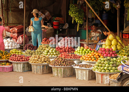 Fruit stall on the market of Duong Dong, Phu Quoc island, Vietnam, Asia - Stock Photo
