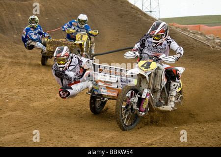 Photographs of sidecars motocross race taken during European Cup in Gdansk - Stock Photo