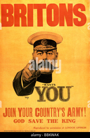 LORD KITCHENER UK army recruiting poster from WWI exists in several designs - Stock Photo