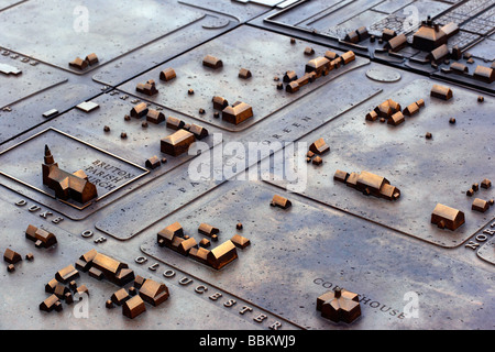 The bronze sculpture of a map of Colonial Williamsburg outside the Visitor s Center Colonial Williamsburg Virginia - Stock Photo