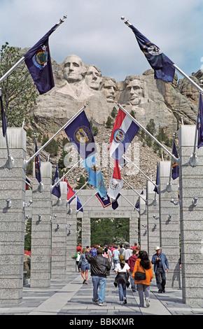 Visitors at Mount Rushmore National Memorial in the Black Hills of South Dakota - Stock Photo