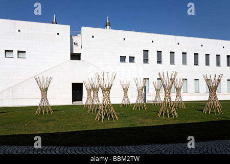 Art- and exhibition-hall of the German Federal Republic, open-air site with modern sculptures, Bonn, North Rhine - Stock Photo