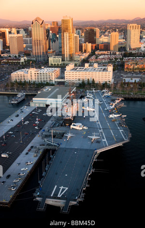 The Navy aircraft carrier USS Midway downtown San Diego California - Stock Photo