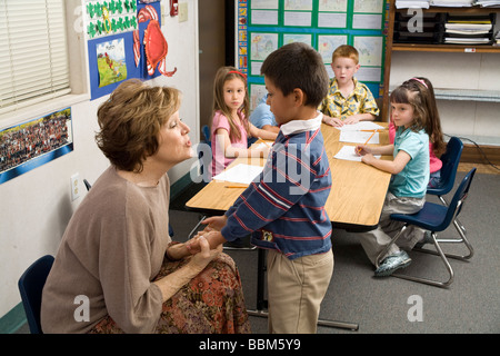 5-6 year old students multi ethnic inter racial diversity racially diverse multicultural multi cultural interracial - Stock Photo