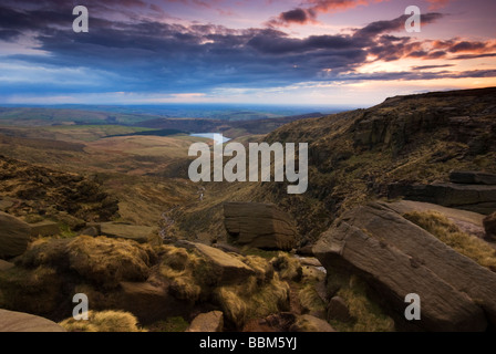 View from Kinder Scout across towards Kinder Reservoir. Peak District UK GB EU Europe - Stock Photo