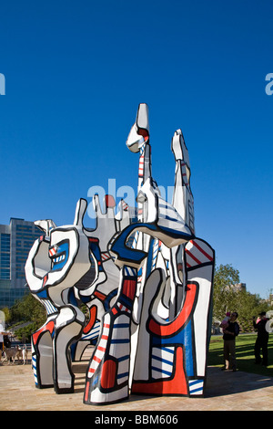 Houston, TX:  The colorful sculpture Monument Au Fantome by Jean Dubuffet  in Discovery Green, downtown's newest - Stock Photo