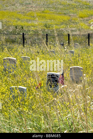 Lt. Col. George A. Custer's headstone, Little Bighorn Battlefield National Monument., Big Horn County, Montana. - Stock Photo