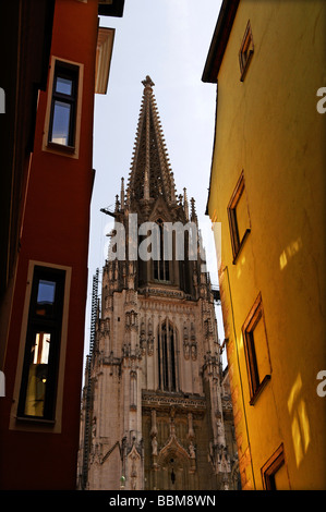 View from an alley of the St Peter Cathedral, tower, Regensburg, Lower Bavaria, Germany, Europe - Stock Photo