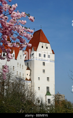 New Castle, built in the 15th Century by Duke Ludwig the Gebartete, Bavarian Army Museum, spring, Ingolstadt, Bavaria, - Stock Photo