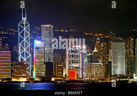 View from Kowloon, Tsim Sha Tsui shore, on the skyline of Hong Kong Iceland, Hong Kong, China - Stock Photo