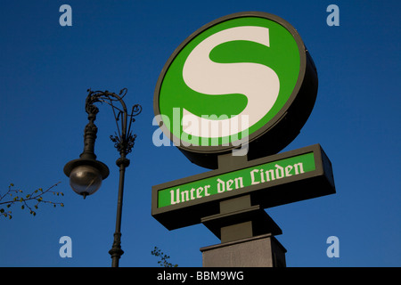 Sign for the tram station Unter den Linden, Mitte district, Berlin, Germany, Europe - Stock Photo