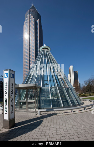 Entrance to the subway station in front of the Messeturm tower, Friedrich-Ebert-Anlage street, Frankfurt am Main, - Stock Photo