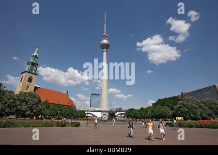 Fernsehturm TV tower and Marienkirche, St. Mary's Church, Berlin, Germany, Europe - Stock Photo
