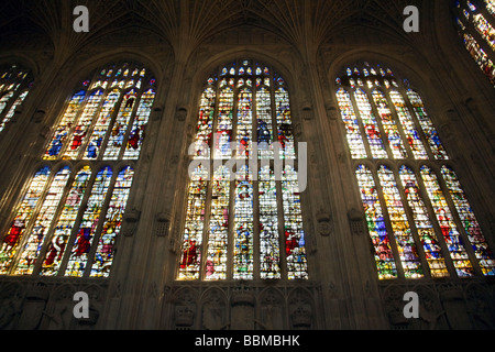 Stained Glass window, South face, Kings College Chapel, Cambridge UK - Stock Photo