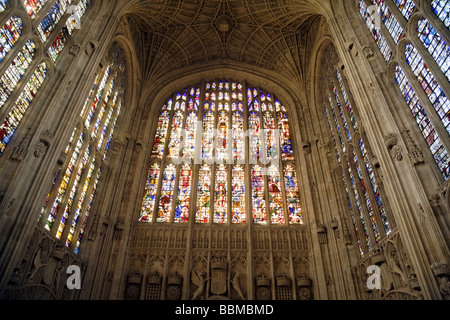 Kings College Chapel Interior; Stained Glass window, West face, Kings College Chapel, Cambridge UK - Stock Photo