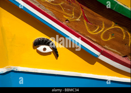 Fishing boat, harbor, Luzzu, Marsaxlokk, Malta - Stock Photo