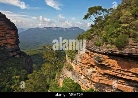 Australia New South Wales. A view of the Jamison Valley in the Blue Mountains from Prince Henry Cliff Walk. - Stock Photo