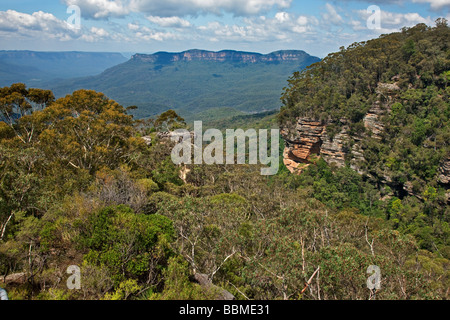 Australia, New South Wales. A view of the Jamison Valley in the Blue Mountains from Prince Henry Cliff Walk. - Stock Photo