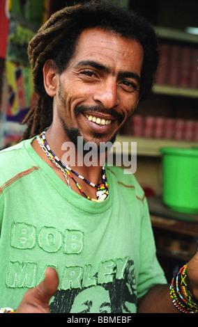 rasta man old town mombasa kenya - Stock Photo