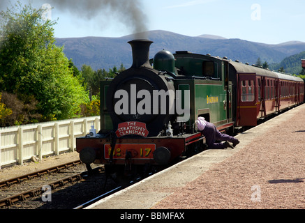 No. 17 The Clansman 'Braeriach' Passenger Train. Strathspey Restored Steam Railway locomotives,  Boat of Garten - Stock Photo