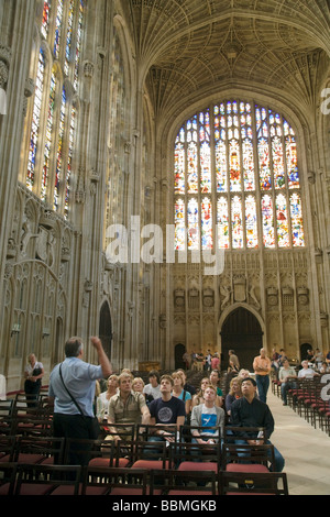 Guided tour in progress, Kings College Chapel interior, Cambridge, UK - Stock Photo