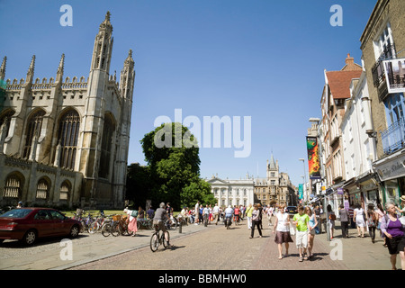 Kings College Chapel and Kings Parade, on a sunny summers day, Cambridge, UK - Stock Photo