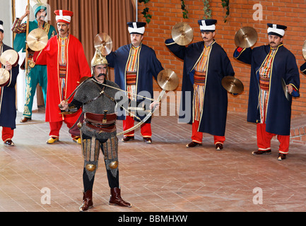 Actors in period costumes, Janizary military band, Mehter band, show in the military museum, Askeri Mues, Osmanbey, - Stock Photo