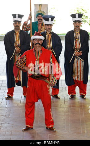 Actors in period costumes, Janitscharen military band, Mehter band, show in the military museum, Askeri Mues, Osmanbey, - Stock Photo