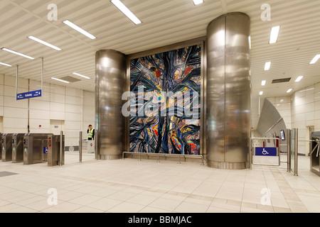 Modern, bright Metro station Taksim Square, Beyoglu, Istanbul, Turkey - Stock Photo
