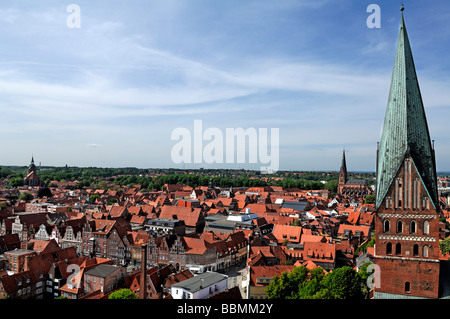 View from the water tower on the Old Town, St. Johannis church in the front, in the back the St. Nikolai church, - Stock Photo