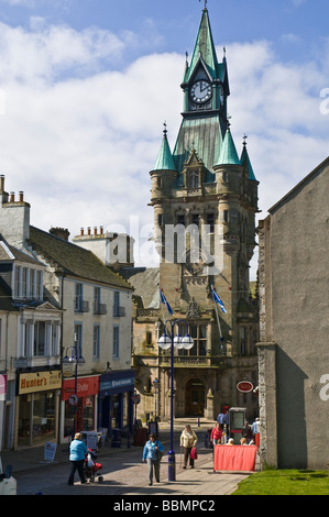 dh  DUNFERMLINE FIFE Scottish Town hall clock tower and people in High Street centre Scotland