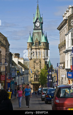 dh High Street DUNFERMLINE FIFE Scottish Old Town hall clock tower people in scotland main st pedestrians uk