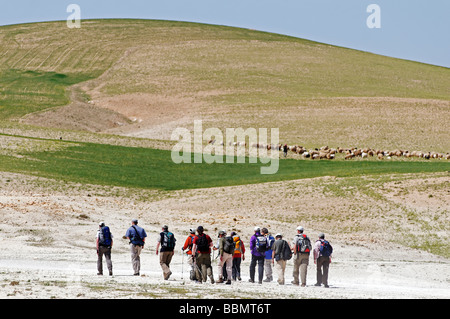Hikers on the mountain Jebel Arruda, Syria, Asia - Stock Photo