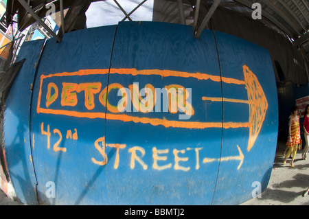 Detour sign with arrow at a construction site in Times Square on Friday May 22 2009 Frances M Roberts - Stock Photo