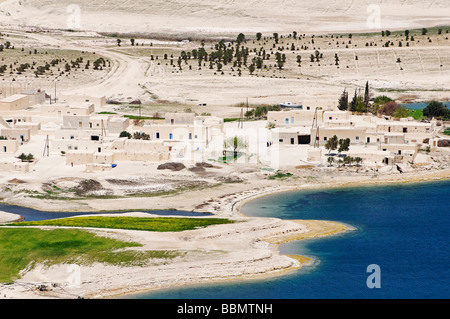 Village at the Asad reservoir of the Euphrates, Syria, Asia - Stock Photo