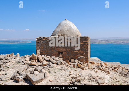 Cemetery on the mountain Jebel Arruda, in the back the Asad reservoir of the Euphrates, Syria, Asia - Stock Photo