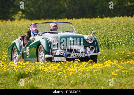 Triumph TR 3A, built in 1959, vintage car motor rally Wiesbaden 2009, Hesse, Germany, Europe - Stock Photo