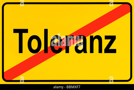 Sign city limits, symbolic image for the end of tolerance - Stock Photo