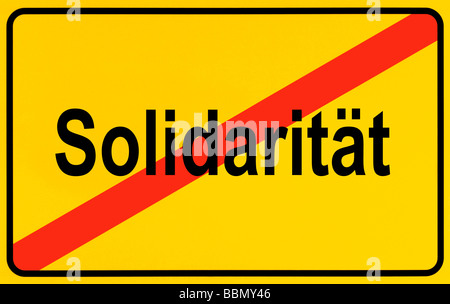 Sign city limits, symbolic image for the end of solidarity - Stock Photo