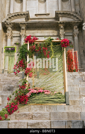 Girona flowers and art exhibition - Stock Photo