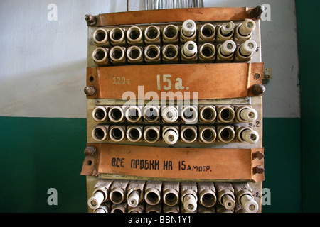 old fuses in a fuse box bbn1y1 old fuse box with fuses stock photo, royalty free image 127593390 old fuse box fixes at crackthecode.co