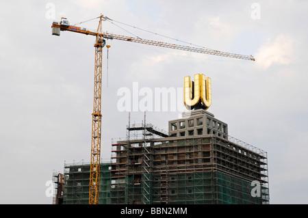 Building crane, construction site, former Union Brewery Dortmunder U, future cultural center, center of commerce, - Stock Photo