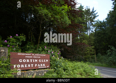 entrance to Gortin Glen forest park in the sperrin mountains county tyrone northern ireland uk - Stock Photo