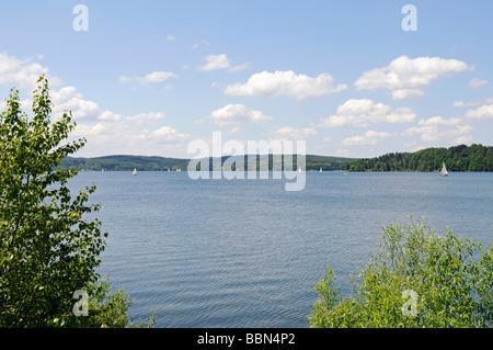 Sailboats, boat, Moehnesee lake, Moehne, reservoir, Naturpark Arnsberger Wald, ature reserve Arnsberg Forest, Sauerland, - Stock Photo