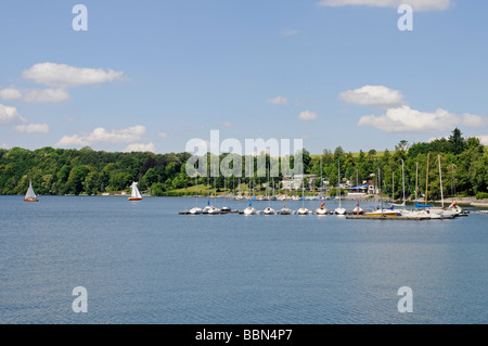 Sailboats, boat, dock, pier, Delecke, Moehnesee lake, Moehne, reservoir, North Rhine-Westphalia, Germany, Europe - Stock Photo
