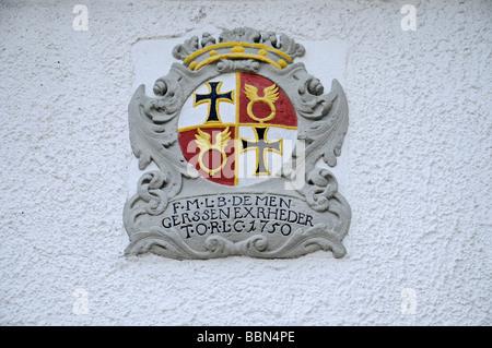 Crest, former main building of the German Knights, Deutschorden, Teutonic order, castle, Sichtigvor, Warstein, Moehne, - Stock Photo