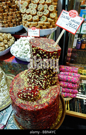 Halva sweets with pistachios in shape of a tower, sliced open, Egyptian Bazaar, Spice Bazaar, Bazaar District, Istanbul, - Stock Photo