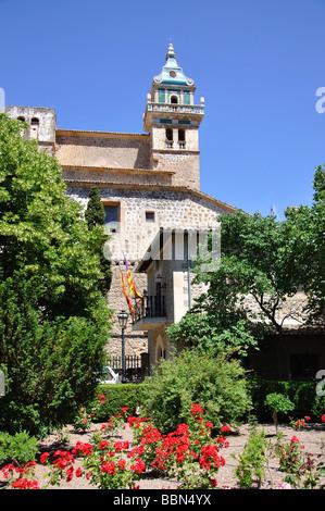 The Carthusian monastery from gardens, Valldemossa Municipality, Mallorca, Balearic Islands, Spain - Stock Photo
