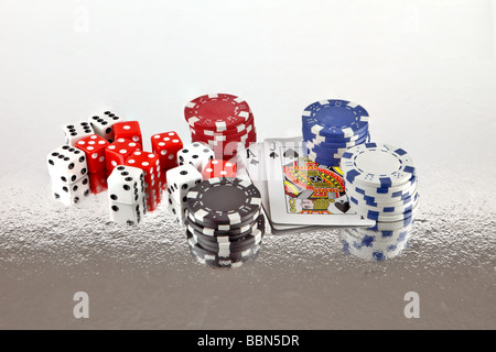 Gambling devices of dice cards and poker chips - Stock Photo