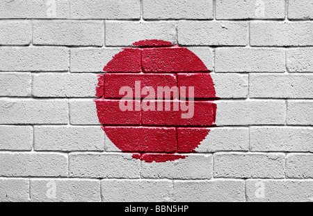 Flag of Japan on brick wall - Stock Photo